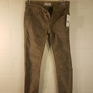 NWT Free People Brown Corduroy Skinny Jeans Sz W24
